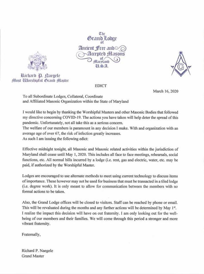 Grand Lodge of Maryland, USA  |  Grand Master - Richard Naegele