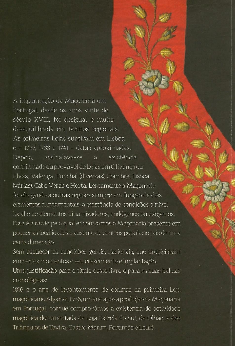Literatura: - 120 ANOS DE MAÇONARIA NO ALGARVE (1816-1936)