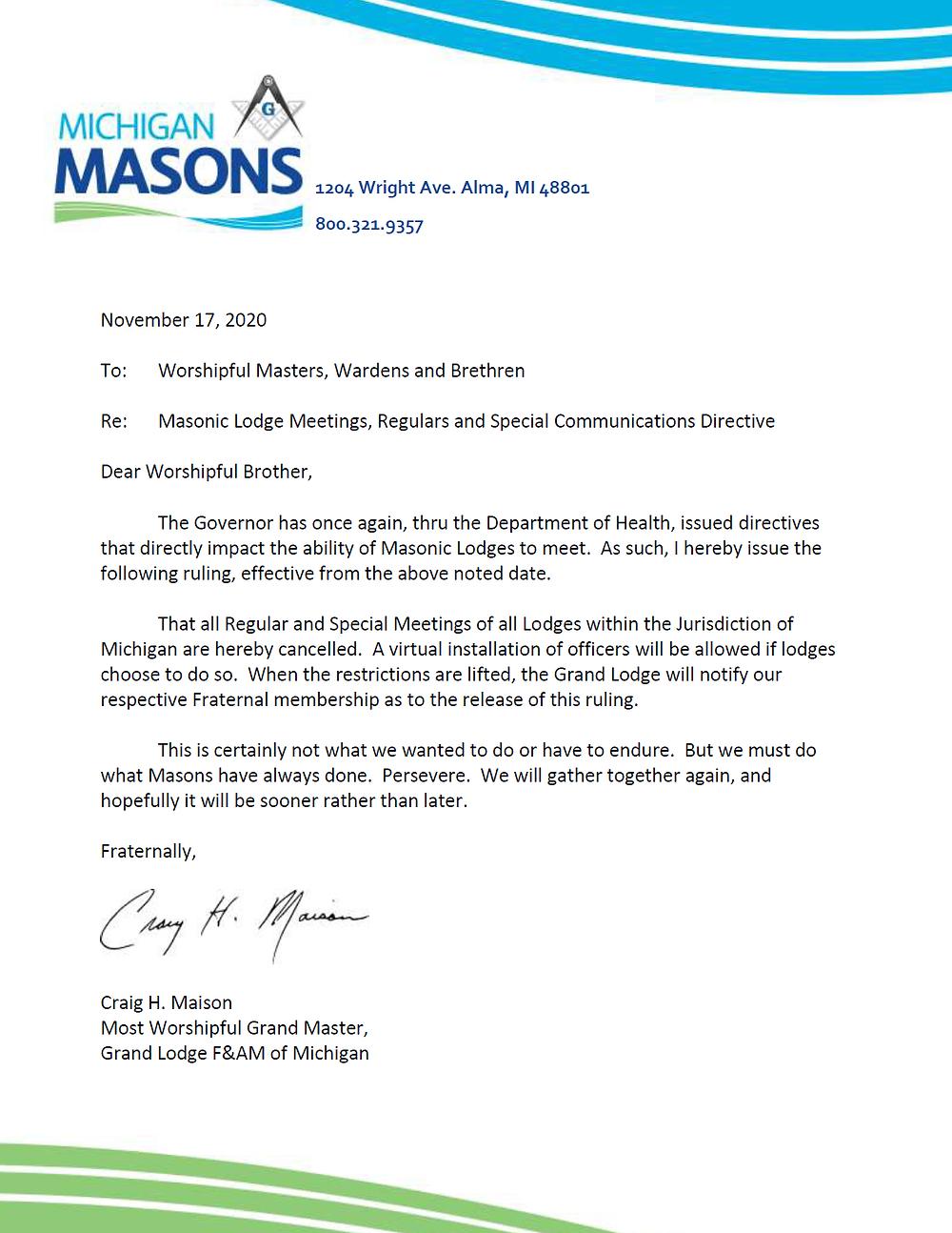 Freemasonry - Craig Maison, Grand Master, Grande Lodge of Michigan