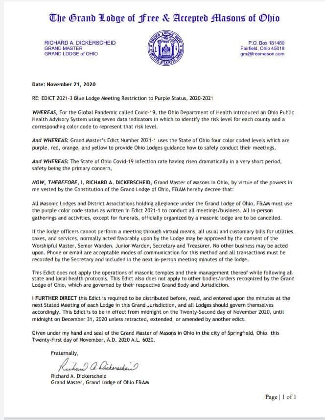 Grand Lodge Ohio | November 21, 2020