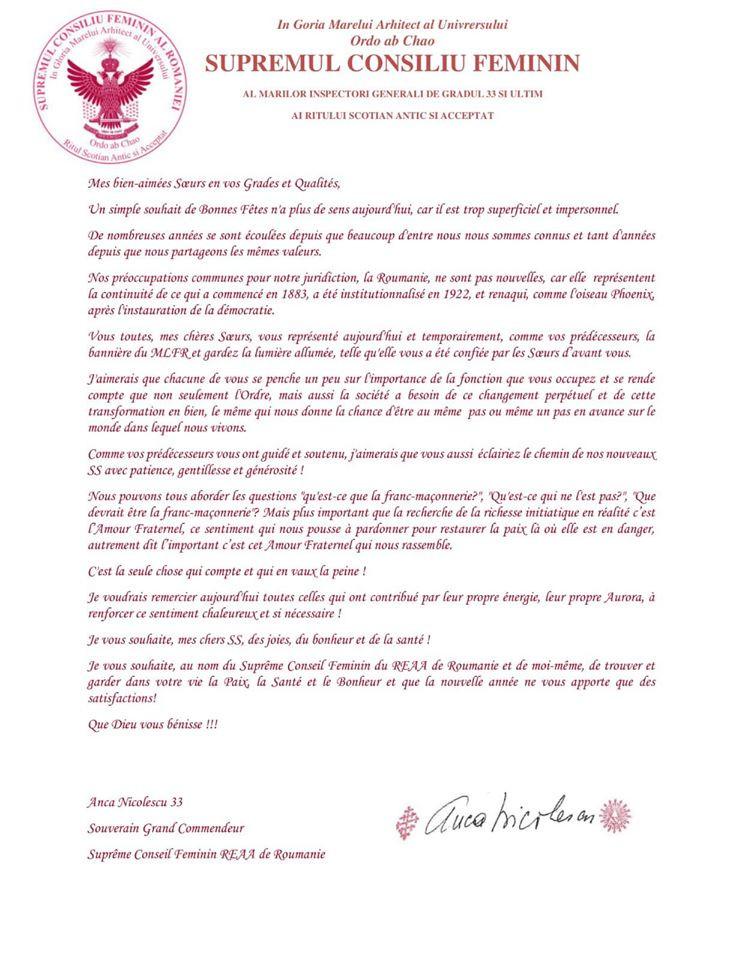 Voeux du SGC REAA de Roumanie pour 2020 | SCF
