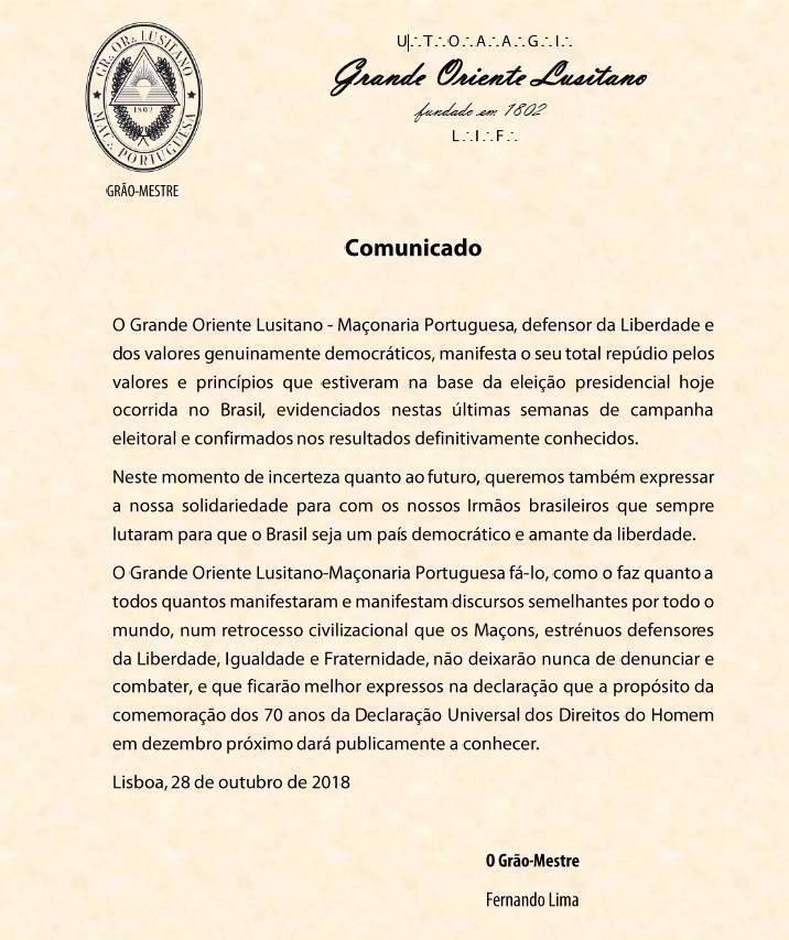 GOL emite um COMUNICADO contra a eleição do actual Presidente do Brasil, Jair Balsonaro