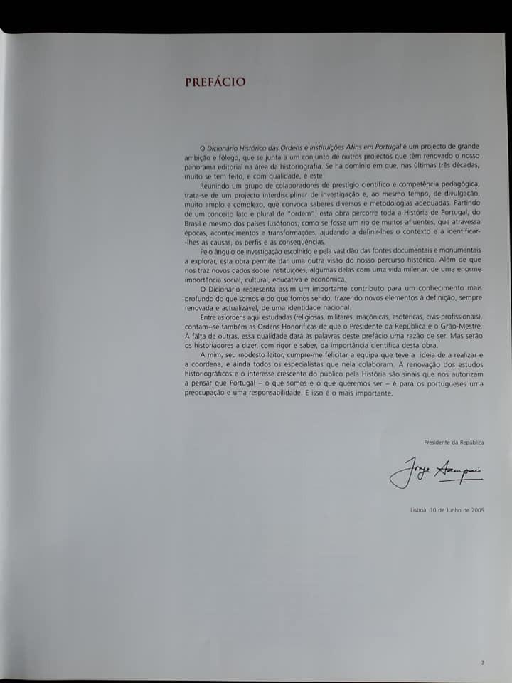 Prefácio do Presidente da República de Portugal   Dicionário Histórico das Ordens e Afins em Portugal