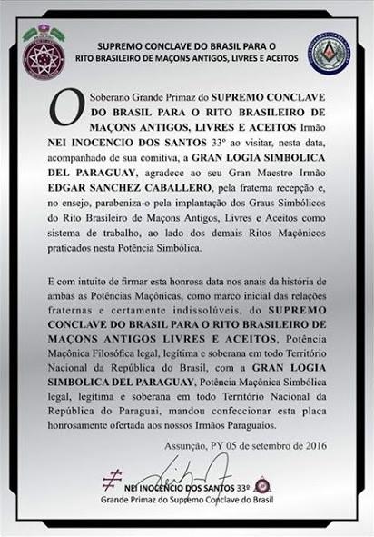 Fundado o Supremo Conclave do Paraguai