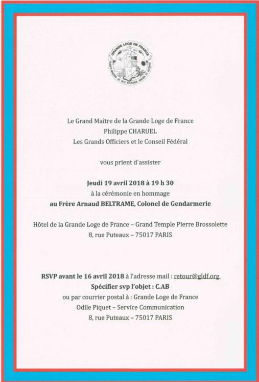 Cérémonie en hommage au Colonel Arnaud Beltrame le jeudi 19 avril 2018 à Paris | GLdF