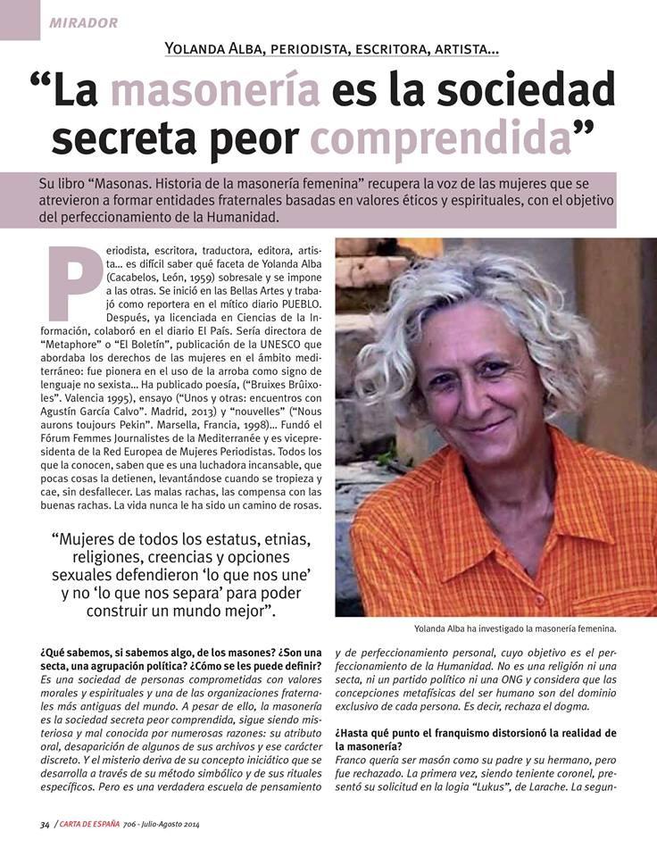 «La masonería es la sociedad secreta peor comprendida», por Yolanda Alba, Escritora.
