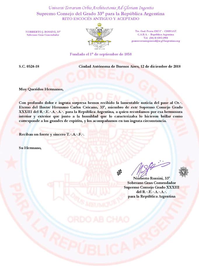 Passagem ao Oriente Eterno do Ilustre Irmão Carlos Crócabo, 33º. | Supremo Conselho do Grau 33º da República da Argentina