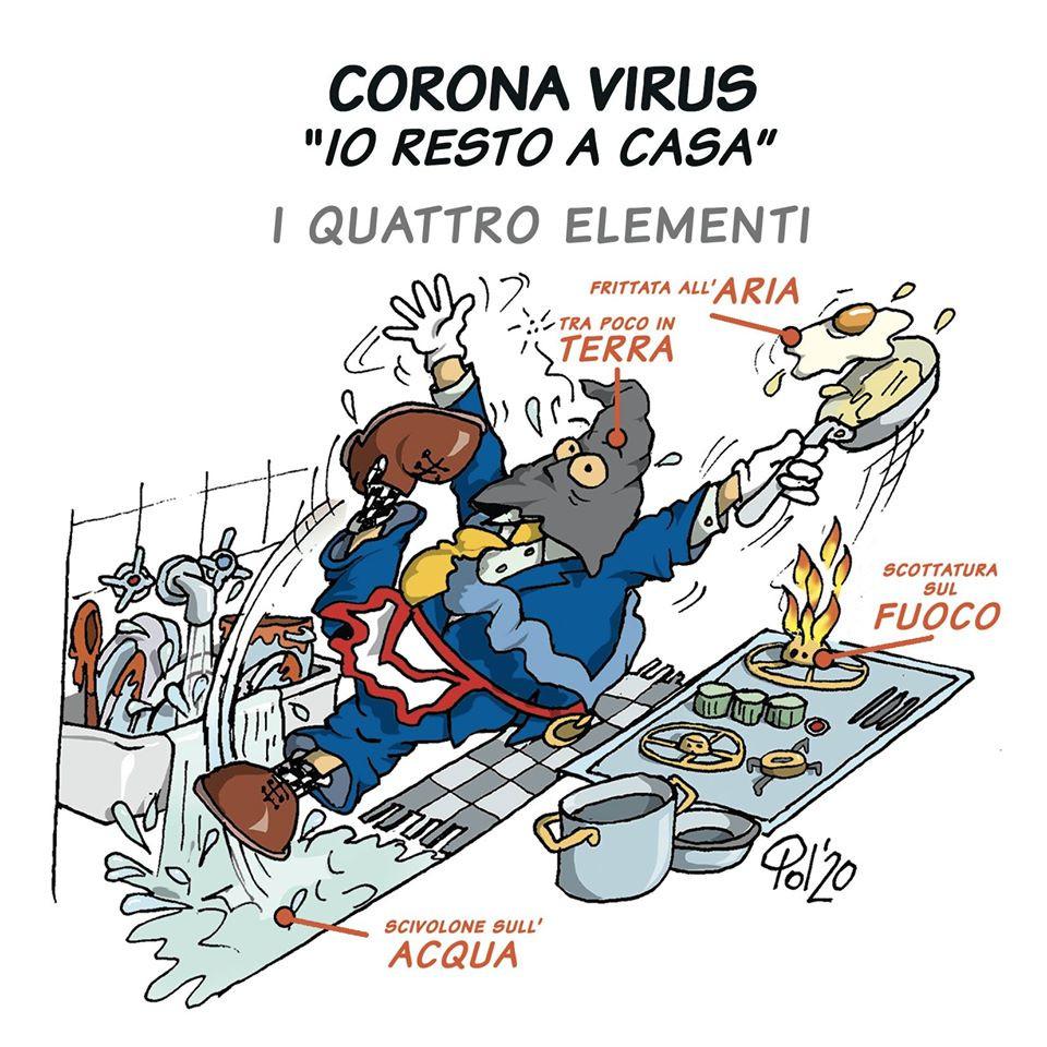"Cartoon: - ""CORONA VIRUS - «IO RESTO A CASA» - I QUATRO ELEMENTI"""