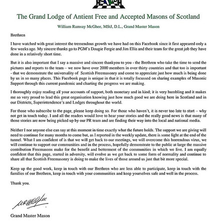 Grand Lodge of Antient Free and Accepted Masons of Scotland   Grand Master Mason