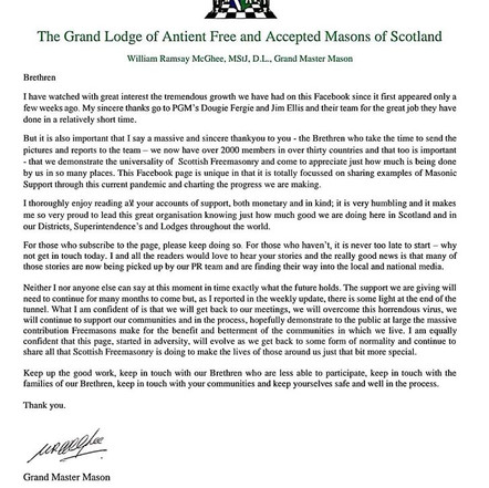 Grand Lodge of Antient Free and Accepted Masons of Scotland | Grand Master Mason