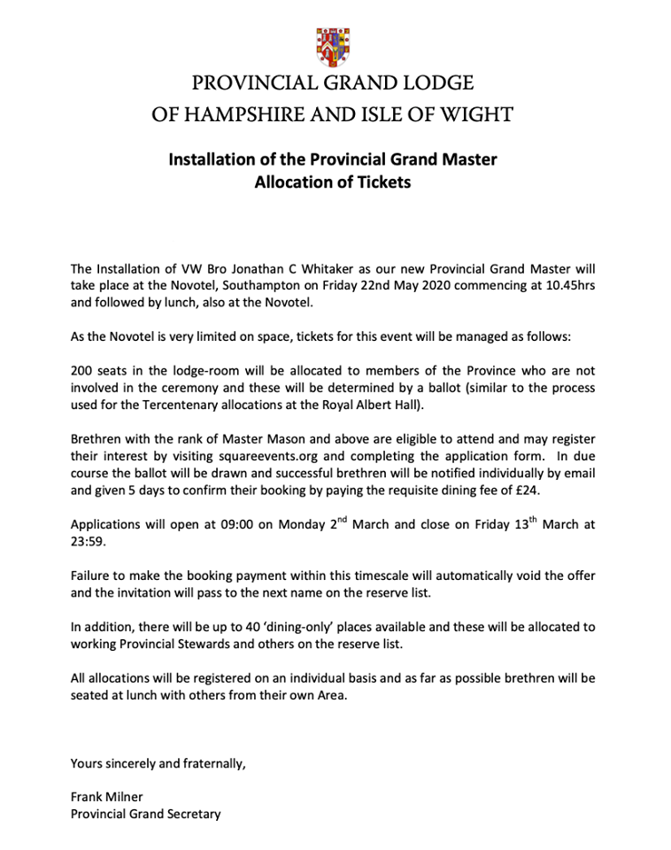 Provincial Grand Master | Provincial Lodge of Hampshire and Isle of Wight