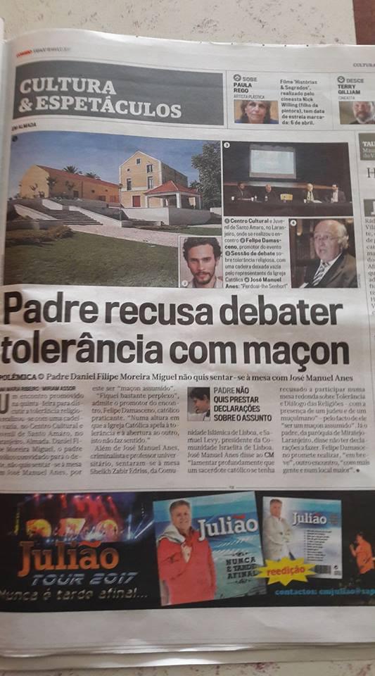 """Padre recusa debater tolerância com maçon""., in CM"