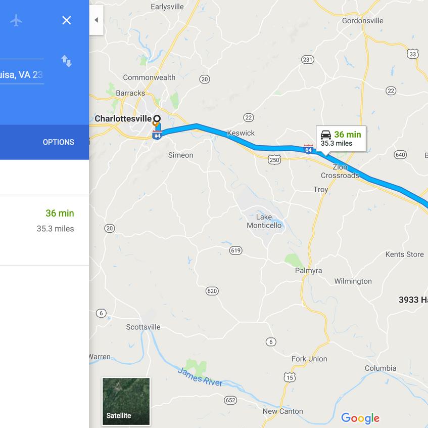 GoogleMaps - direction toCharlottesville