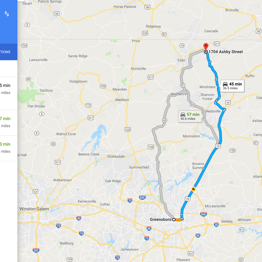 Directions to Greensboro, NC