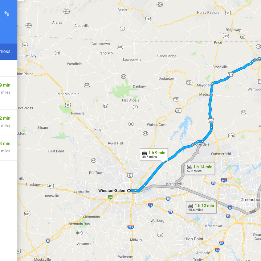 Directions to Winston Salem, NC