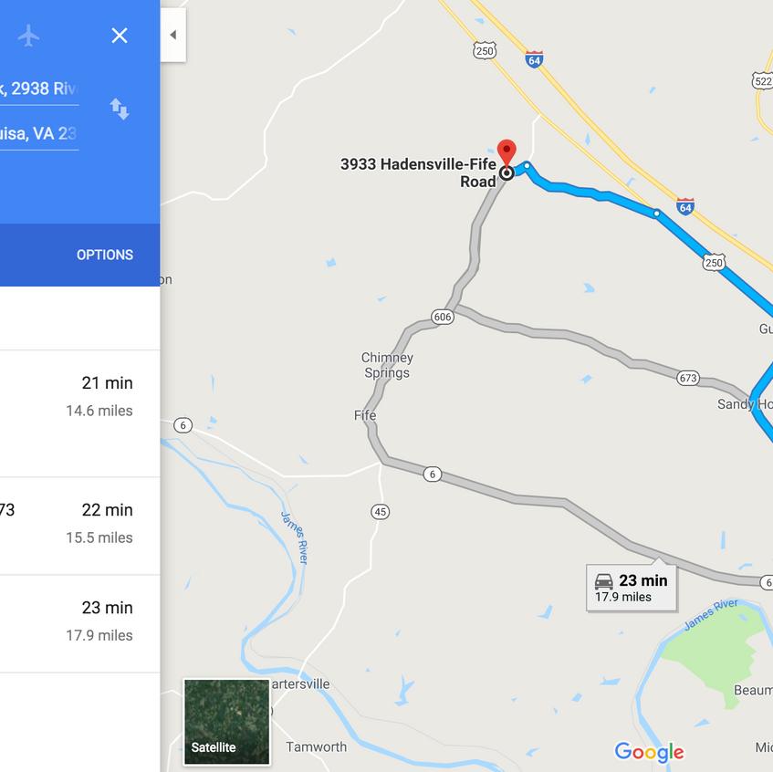 GoogleMaps - direction toGoochland Count