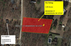 1.05 acres Vacant Lot in Vance County, NC for $257.88/Month