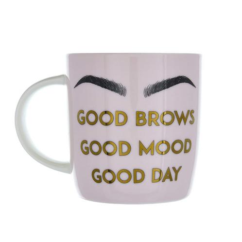 Ceramic Mug Good Brows Pink/Gold