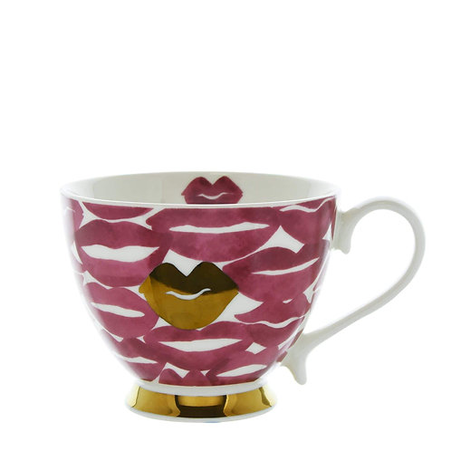 Lips footed mug pink and gold 9.7cm