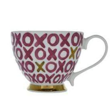 Hugs & Kisses Footed Mug Pink and Gold 9.7cm