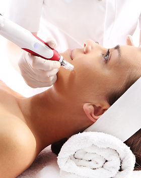 Needle mesotherapy.Beautician performs a