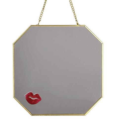 Lips Hanging Mirror Gold 18cm