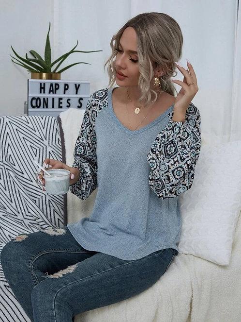 Floral Print Raglan Sleeve Tee ~ XS thru L ~ Multiple Color Options