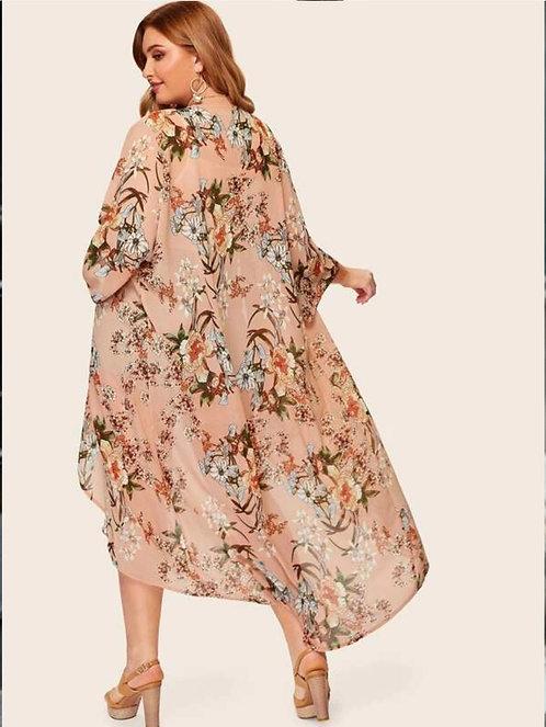Floral Print Chiffon Kimono ~ X sizes ~ Multiple Colors