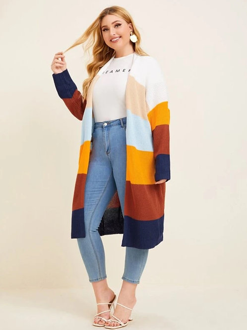 Ribbed Knit Colorblock Cardigan ~ X sizes