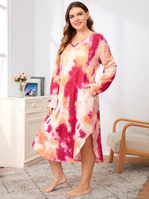Tie Dye Print Curved Hem Night Dress ~ X sizes