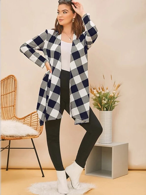 Asymmetrical Hem Buffalo Plaid Coat ~ XS thru XL ~ Color Options