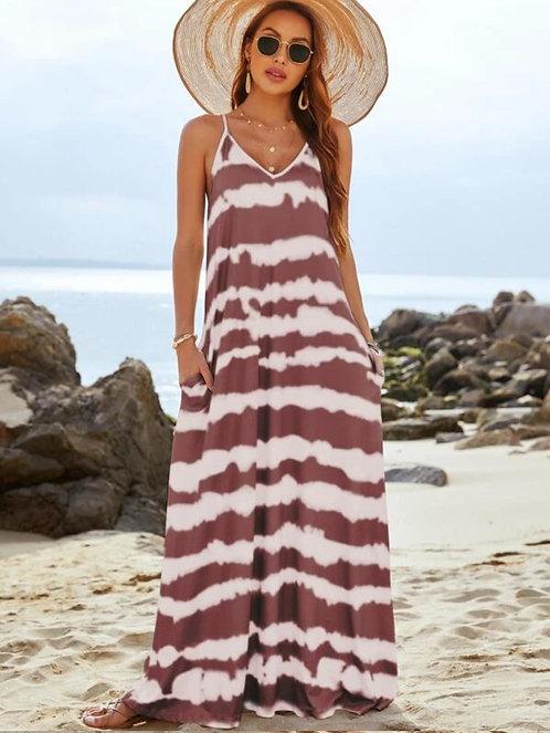 Tie Dye Slant Pocket Maxi Cami Dress ~ S thru 2XL ~ Multiple Color Options