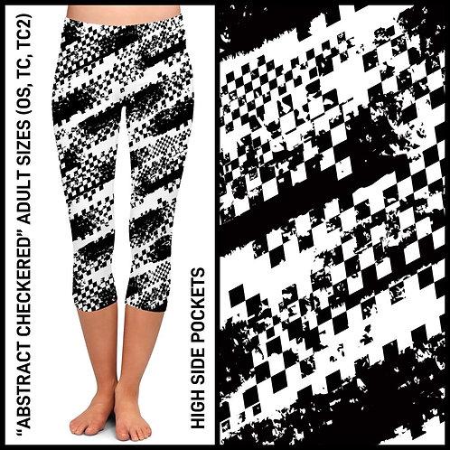 Abstract Checkered Capri  Leggings
