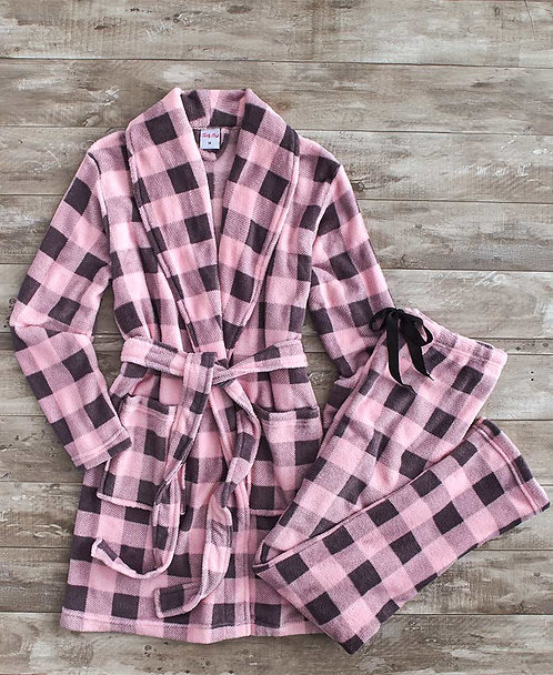 Fleece Robe and Pant Sets ~ M thru 3XL~ Multiple Colors