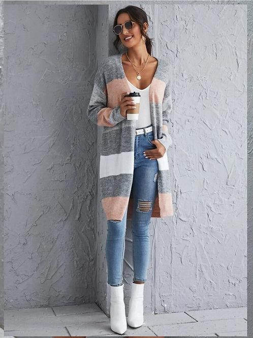 Drop Shoulder Color Block Cardigan ~ S thru L  ~ Color Options
