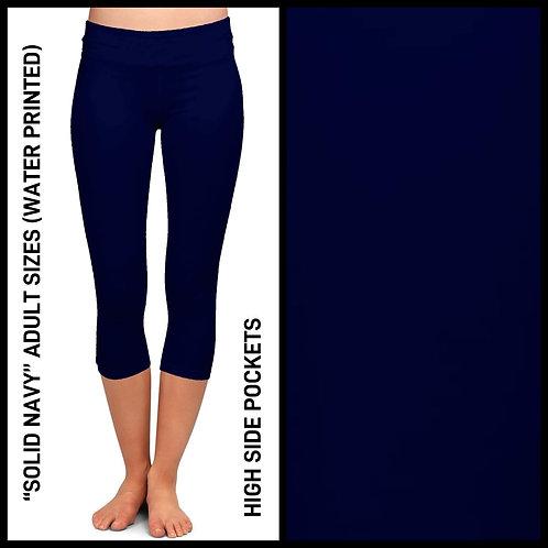 Solid Navy Capri Leggings W/Pockets