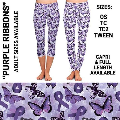 Purple Ribbons Leggings