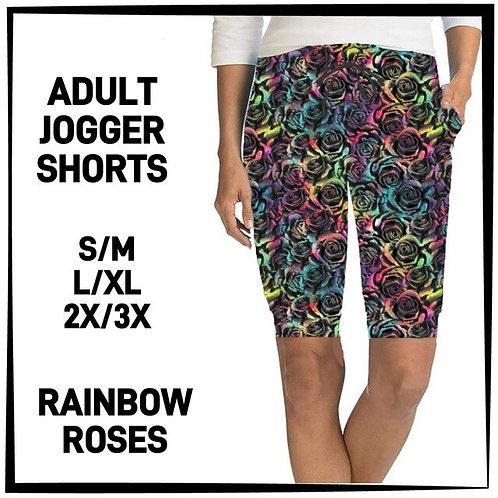 Rainbow Roses Jogger Shorts