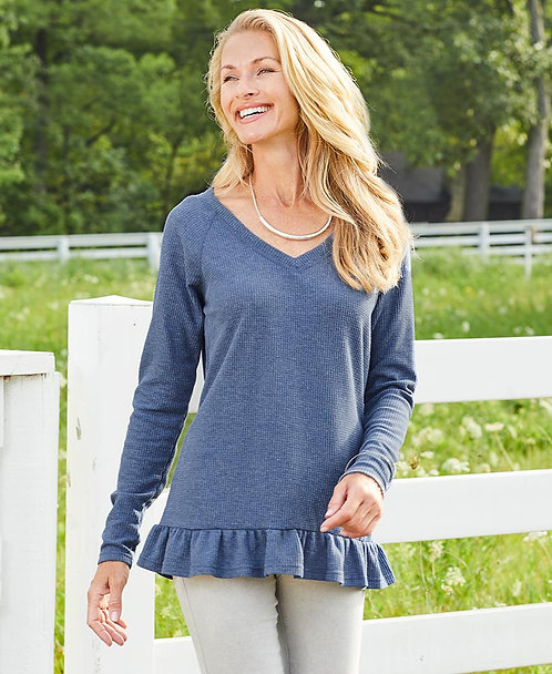 Ruffle Hem Thermal Top  ~ X sizes ~ Color options