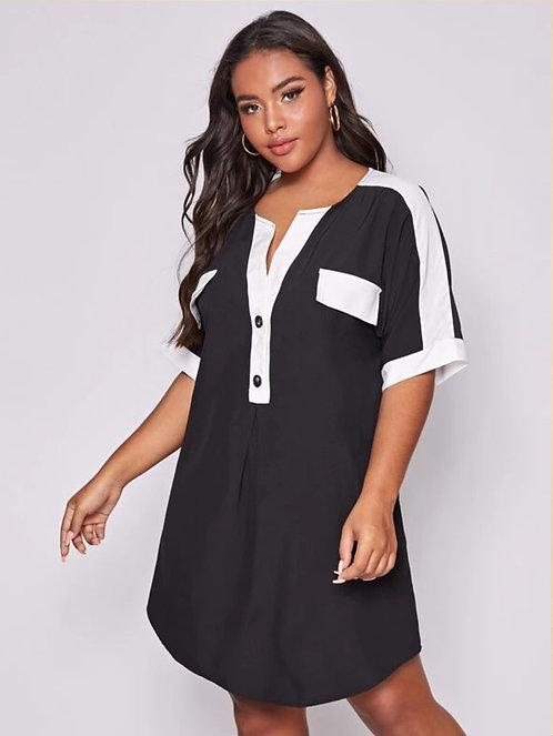Half Button Color Block Curved Hem Dress ~ X sizes