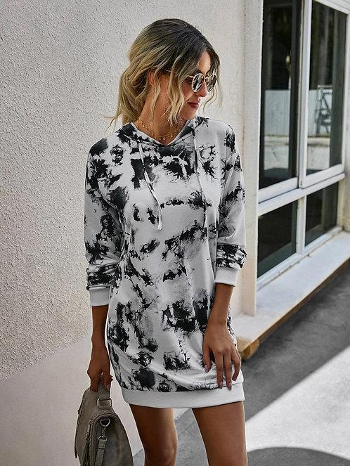 Tie Dye Hidden Pocket Drawstring Sweatshirt Dress ~ S thru XL