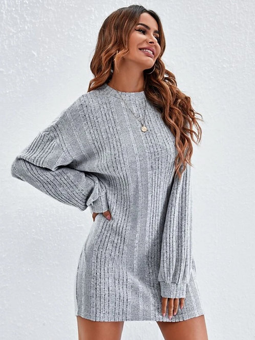 Drop Shoulder Rib-knit Tee Dress Without Belt ~ XS thru XL ~ Color Options
