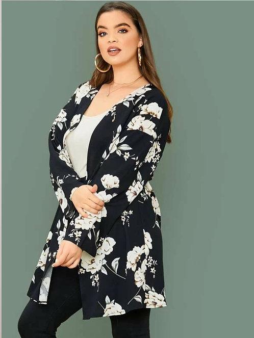 Open Front Floral Print Coat ~ X sizes
