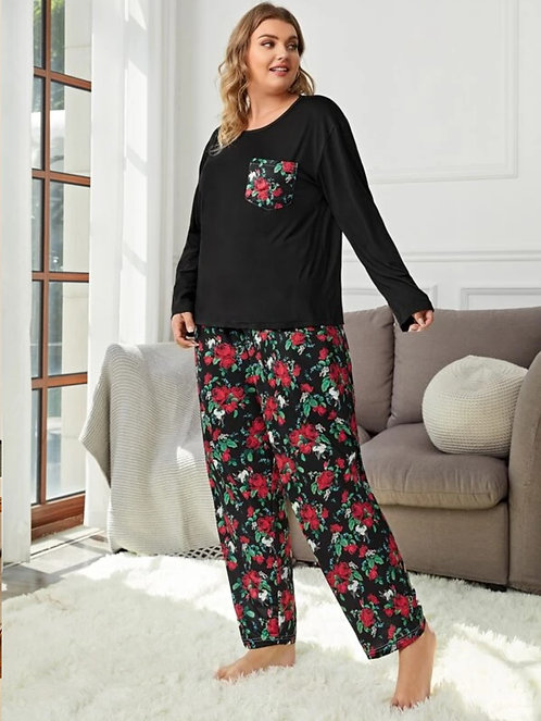 Floral Print Knot Front Long Sleeve PJ Set ~ X Sizes ~ Color Options