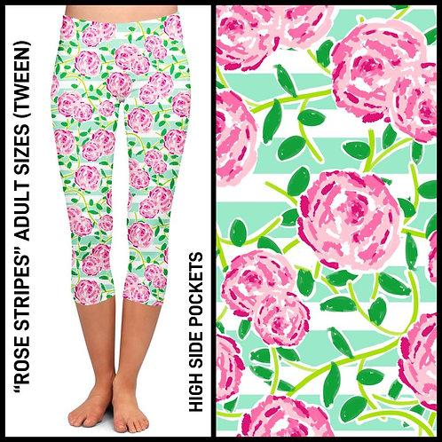 Rose Stripes Capri Leggings