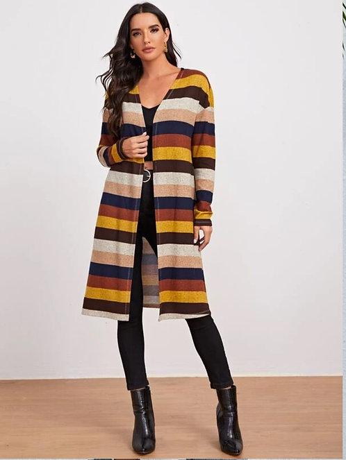 Open Front Drop Shoulder Striped Coat ~XS thru L