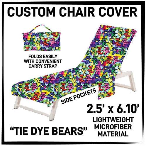 Tie Dye Bears Lounge Chair Cover