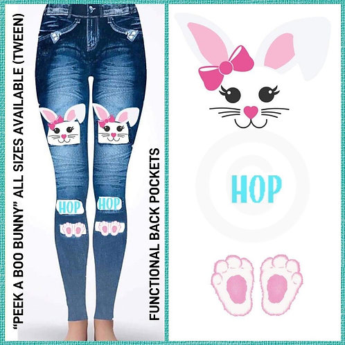 Peek A Boo Bunny Jeggings with back pockets