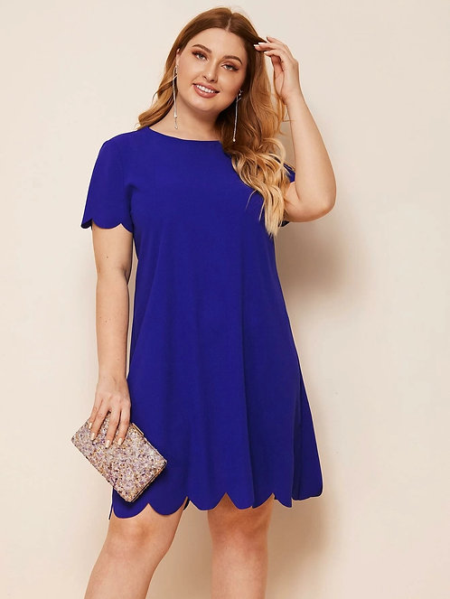 Scallop Edge Solid Dress ~ X sizes ~ Multiple Color Options