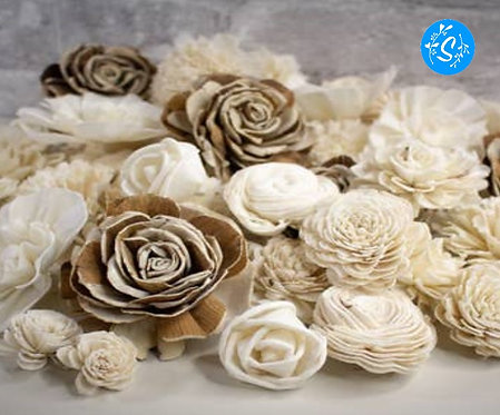 Raw Wood Flowers Assortment of 8